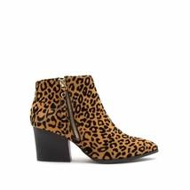 Qupid Nava Camel/ Black Leopard Print Vegan Suede Chunky Heel Booties 7.5 New - $28.00