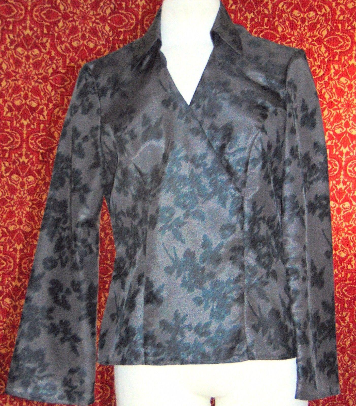 NINE & COMPANY gray polyester long sleeve faux wrap blouse 6 (T07-01I8G) image 6
