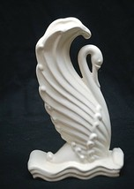 Old Vintage Retro 50s Art Pottery Swan Vase w Matte White Finish Shelf D... - $49.49