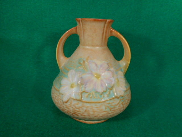 Vintage Roseville Cosmos Brown 2 Handled Vase 944-4""