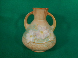 "Vintage Roseville Cosmos Brown 2 Handled Vase 944-4"" - $78.21"