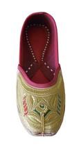 Women Shoes Jutti Indian Handmade Leather Gold Ballerinas Mojari US 7 - £24.26 GBP