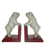 ENGLISH BULLDOG CAST IRON BOOKENDS Heavy Collectable White Dog Book Ends... - $69.95