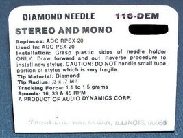 Genuine ADC PSX-20 TURNTABLE NEEDLE STYLUS for ADC RPSX-20 116-DEM image 3
