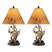 Rustic Cabin Lamps Set 2 Pc Antler Decor Table Top Lamp Light Cottage Co... - $129.24