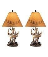 Rustic Cabin Lamps Set 2 Pc Antler Decor Table Top Lamp Light Cottage Co... - £99.78 GBP