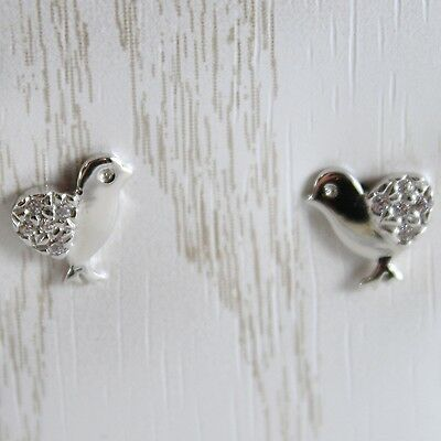 White Gold Earrings 750 18K for Girl, Chicks, Length 0.9 cm, with Zircon