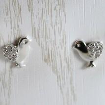 White Gold Earrings 750 18K for Girl, Chicks, Length 0.9 cm, with Zircon image 1