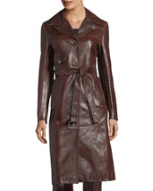 Vintage Leather Button-Front Belted Biker Coat Women's 100% Genuine Leat... - $250.00