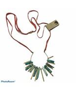 NWT anthropologie semi precious Egyptian Tassel necklace Leather Faux Tu... - $51.43