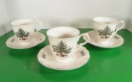 Nikko HAPPY HOLIDAYS Footed Cup and Saucer Set (s) LOT OF 3 Christmas Tree - $15.79