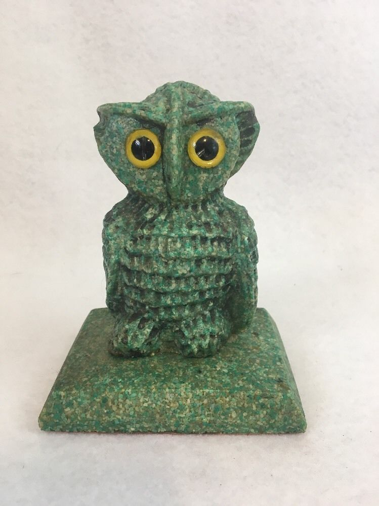"Faux Green Granite Owl Figurine 5"" Tall Composition Resin"