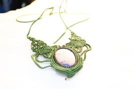 Handmade Macrame Necklace  Jewelry Lapis Lazuli Cord Handmade Bohemian135 - $15.00