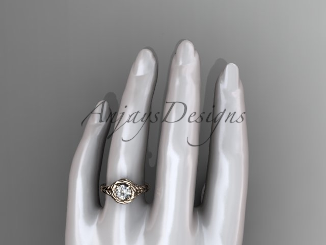 Rope engagement ring, 14kt rose gold twisted rope engagement ring RP8201