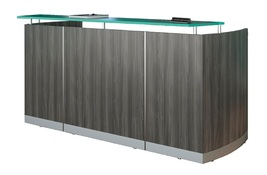 """Murloc Reception Desk Shell with Floating 3/4"""" thick frosted glass counter - $2,799.99"""