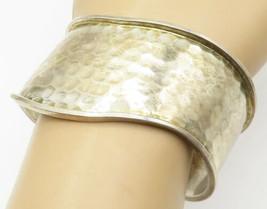 925 Sterling Silver - Vintage Hammered Wavy Design Wide Cuff Bracelet - ... - $135.61