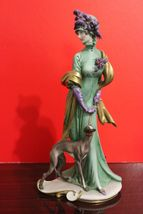 "Vintage Italy Capodimonte  Figurine G.Cappe Edwardian Lady with Borzoi  Mint 10"" - $514.80"