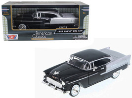 1955 Chevrolet Bel Air Black and Silver 1/24 Diecast Model Car by Motormax - $32.98