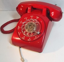 Red Stromberg Carlson Model 500 Rotary Dial Desk Telephone Tested Made U... - $51.76