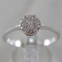 SOLID 18K WHITE SOLITAIRE ROSE FLOWER GOLD RING LUMINOUS BRIGHT, MADE IN ITALY image 1