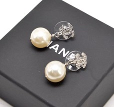 Authentic Chanel Classic Crystal CC Pearl Silver Dangle Drop  Earrings  - $599.99