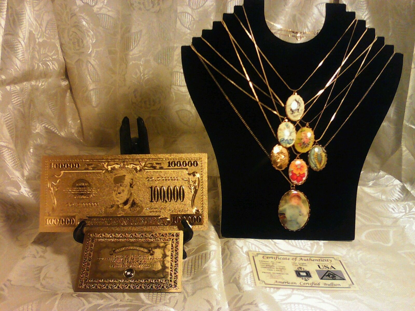 Primary image for S&H MIXED LOT~7Pc. RETRO CAB NECKLACE KITS+GOLD$100K Banknote W/COA+MOREyy