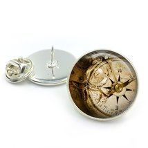 Steampunk Cogs Glass Dome Round Cabochon Lapel Tie Pin Badge Gift UK - $5.99