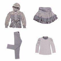 Kate Mack Girls 4 Piece Size 3T Gray Velour Jacket+Skirt+Top+Leggings Ou... - $63.58