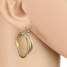 Twisted Tri-Color Silver, Gold & Rose Tone Hoop Earrings-United Elegance - $16.99