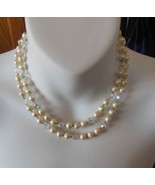 Faux Baroque Pearl and Crystal Bead Necklace Rhinestone Clasp - $15.99