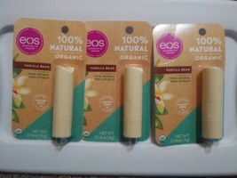 EOS Organic Shea Lip Balm 100% Natural Vanilla Bean Paraben-Free Lot Of 3 - $9.41