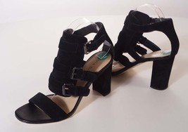 Via Spiga Womens Black Brown Suede Leather Buckle Ankle Strap Heels Shoes - $52.49