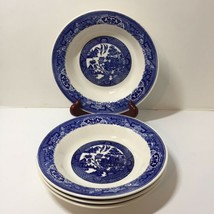 "4 Rimmed Soup Cereal Bowls Blue Willow 8.25"" - $19.34"