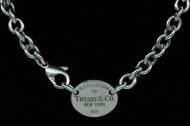 "TIFFANY & CO. Sterling Silver Return to Tiffany Oval Tag Choker 15.5""/16.25 - $170.00"