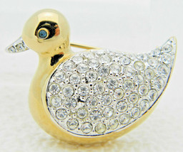VTG CAROLEE Gold Tone Clear Rhinestone Duck Pin Brooch - $39.60