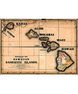 1846 Missionary Map of the Hawaiian Sandwich Islands Wall Art Poster Haw... - $12.87+