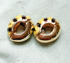 Gold Tiger King Yellow Brown Striped Huggie Earrings Small Animal Print - $13.58