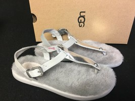 Ugg Australia Lou Lou Sterling Silver Sheepskin Fluffie T-STRAP Sandals 1010688 - $49.99