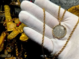 SPAIN 2 REALES 1723 14KT BEZEL PIRATE GOLD COINS TREASURE JEWELRY NECKLACE  - $1,650.00