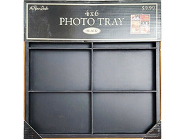 The Paper Studio Wooden Photo Tray 4x6 Inches, Black, Use for Photos/Mixed Media