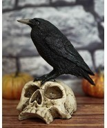 "Ebros Gothic Raven Perching On Skull Statue 7.25"" High Crow Scavenger Fi... - $32.99"