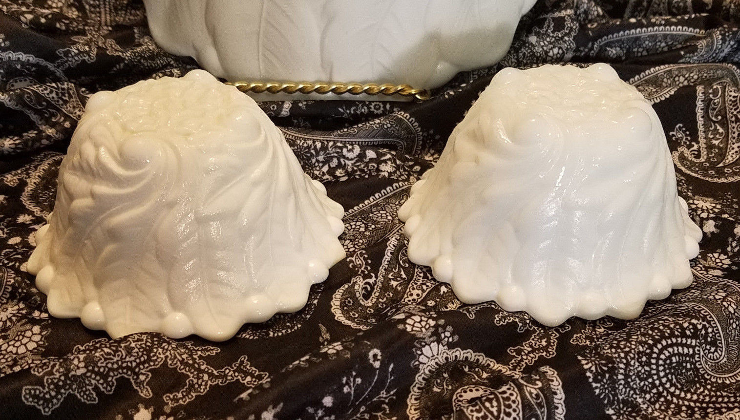 Vtg Indiana Glass Wild Rose Milk Glass Serving Bowl & Two Fruit Cocktail (1940s)