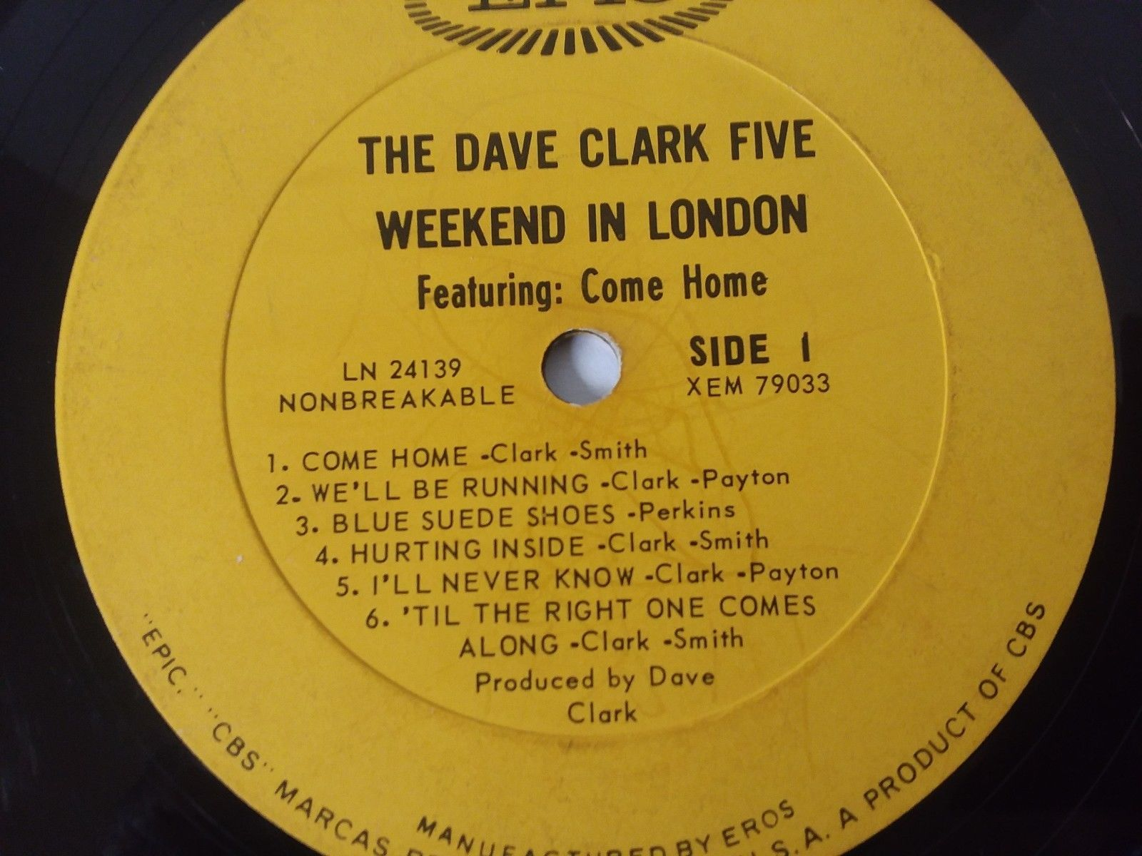 "12"" Vinyl Record Dave Clark 5 Weekend in London Acceptable"