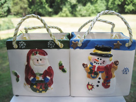 Ceramic Holiday Christmas Santa/Snowman Gift Boxes/ Bags Collectibles De... - £3.23 GBP