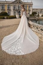 Luxury One Shoulder Mermaid Wedding Dress Detachable Train Long Sleeves Lace App image 4