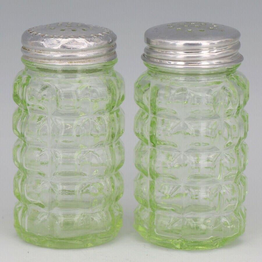 Hazel Atlas Green Depression Glass Block Salt & Pepper Shakers