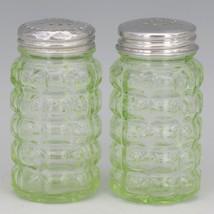Hazel Atlas Green Depression Glass Block Salt & Pepper Shakers image 1