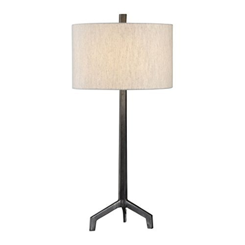 Ivor Raw Steel and Burnished Distressing Table Lamp image 2