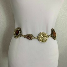 Chicos Womens Belt Chain Goldtone Metal Rhinestones Stones Ornate Medallion - $28.71