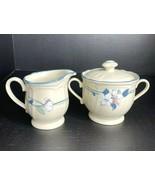 Vintage Noritake Epoch APPLE BLOSSOM Stoneware Cream & Covered Sugar Bow... - $21.73